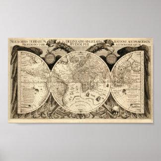 Philipp Eckebrecht 1630 Map of the World Poster