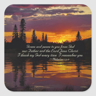 Philippians 1:2-3 Grace and Peace to You, Bible Square Sticker