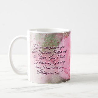 Philippians 1:2-3 Grace and Peace to You Pink Rose Coffee Mug