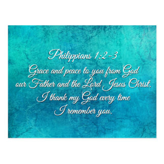 Philippians 1:2-3 Grace and Peace to You Scripture Postcard