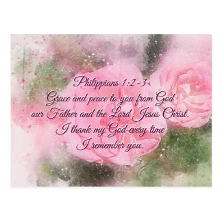 Philippians 1:2 Grace and Peace to you, Scripture Postcard