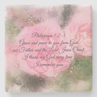 Philippians 1:2 Grace and Peace to You, Scripture Stone Coaster