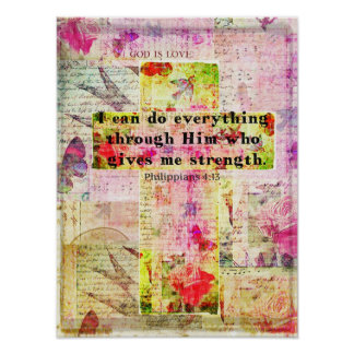 Philippians 4:13  BIBLE quote christian art Poster