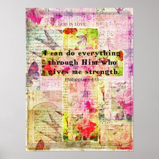 Philippians 4:13  BIBLE quote christian art Poster