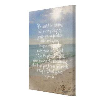 Philippians 4:13 Bible Verse Beach Christian Art Canvas Print