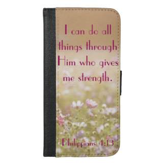 Philippians 4:13 Bible Verse Flower Field Photo iPhone 6/6s Plus Wallet Case