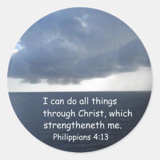 Philippians 4:13 classic round sticker