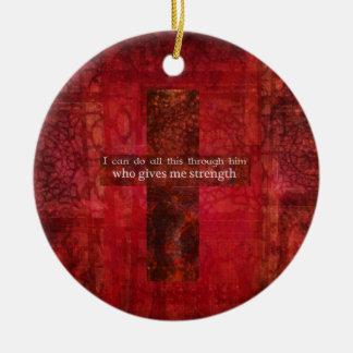 Philippians 4:13 inspirational Scripture Round Ceramic Ornament