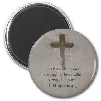 Philippians 4:13 inspiring Bible verse 2 Inch Round Magnet
