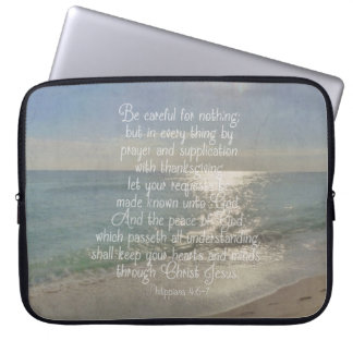 Philippians 4:13 Peace Bible Verse Beach Christian Laptop Sleeve