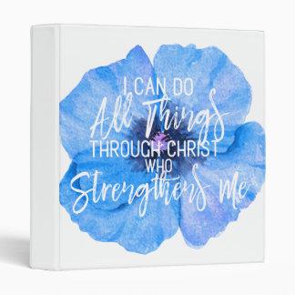 "Philippians 4:13 Pretty Blue Floral 1"" Binder"