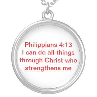 Philippians 4:13 silver plated necklace