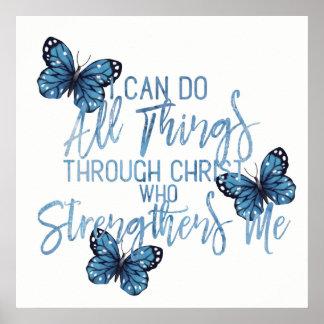 Philippians 4:13 Simple Blue Design Poster