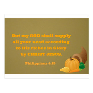 Philippians 4:19  But my God shall supply all your Postcard