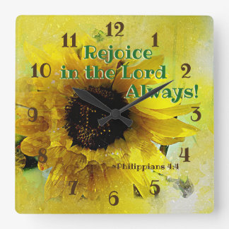 Philippians 4:4 Rejoice in the Lord Always! Bible Square Wall Clock