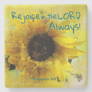 Philippians 4:4 Rejoice in the Lord Always! Bible Stone Coaster