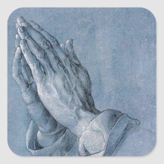 Philippians 4:6 Praying Hands Square Stickers. Square Sticker