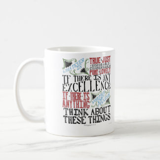 Philippians 4:8 Hand Lettering Mug