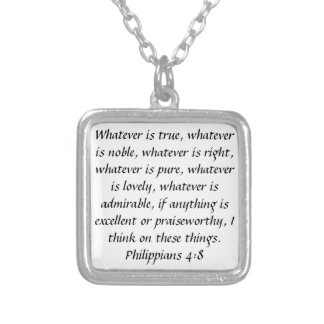 Philippians 4:8 praiseworthy bible verse necklace
