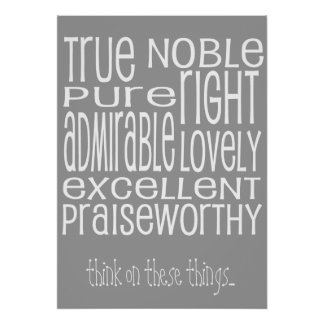Philippians 4:8 word art think on these things poster