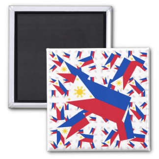 Philippine Flag in Multiple Colorful Layers Askew Square Magnet