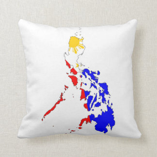 philippines country flag map shape silhouette throw pillow