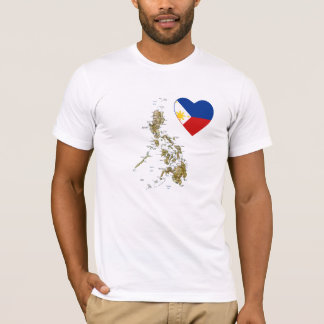Philippines Flag Heart and Map T-Shirt
