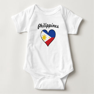 Philippines Flag Heart Baby Bodysuit