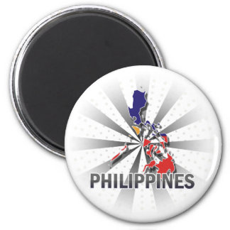 Philippines Flag Map 2.0 2 Inch Round Magnet