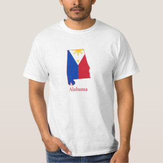 Philippines flag over Alabama map T-Shirt