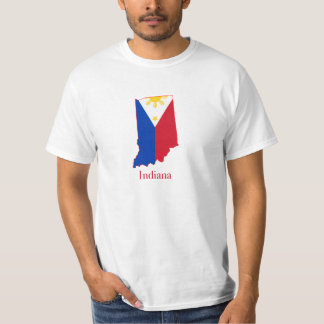 Philippines flag over Indiana map Tee Shirt