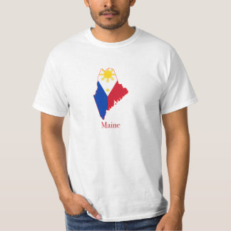 Philippines flag over Maine map Tshirts