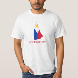 Philippines flag over New Hampshire map Tees