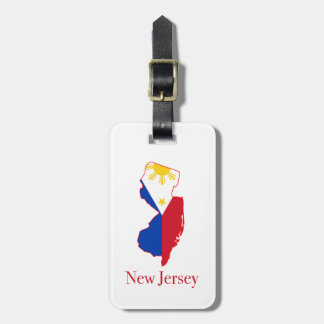 Philippines flag over New Jersey state map Bag Tag