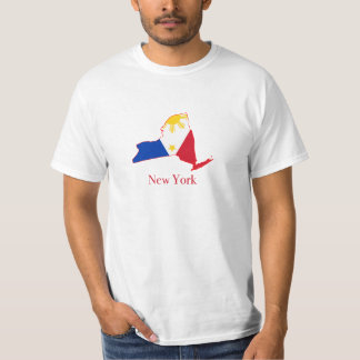 Philippines flag over New York map T-Shirt