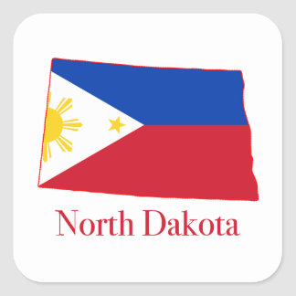 Philippines flag over North Dakota state map Square Sticker