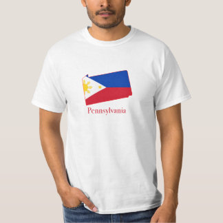 Philippines flag over Pennsylvania map T Shirts