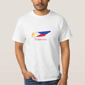 Philippines flag over Tennessee map T-shirts
