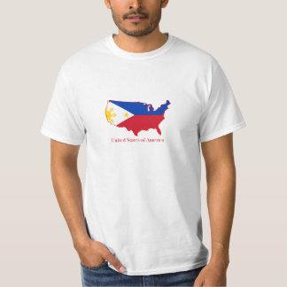 Philippines flag over USA map T Shirts