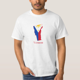 Philippines flag over Vermont map T-Shirt