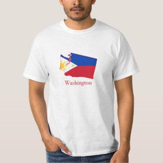 Philippines flag over Washington map T-Shirt