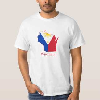 Philippines flag over Wisconsin map T-Shirt