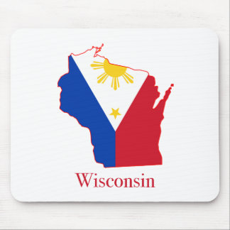 Philippines flag over Wisconsin state map Mouse Pad