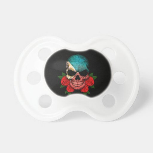 Philippines Flag Skull with Red Roses Baby Pacifiers