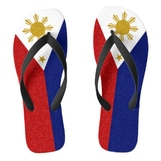 Philippines Glitter Flag, Wide Straps Flip Flops