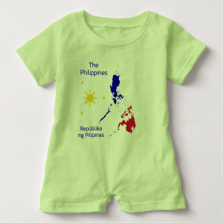 Philippines Map Illustration Baby Romper