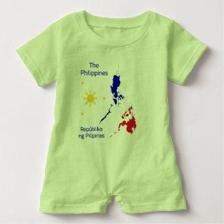 Philippines Map Illustration Baby Romper