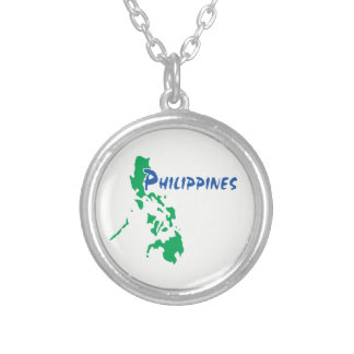 Philippines Map Silver Plated Necklace