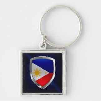Philippines Metallic Emblem Silver-Colored Square Keychain