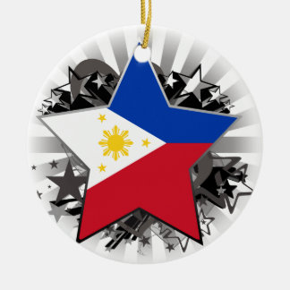 Philippines Star Round Ceramic Ornament